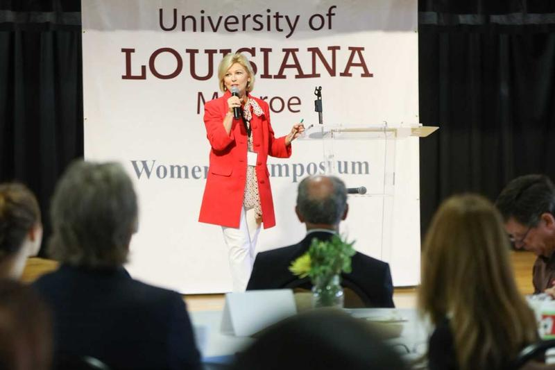 ULM Chief Commmunications Officer Lisa Miller speaking at 2017 Women's Symposium