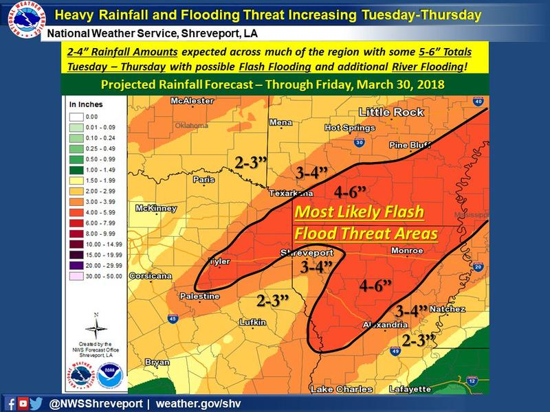Training storms and heavy rainfall may lead to flooding.