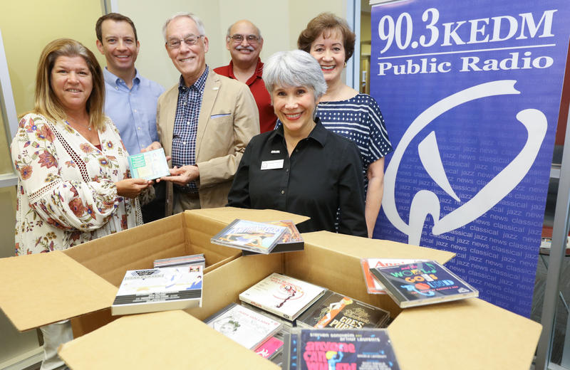 The CD collection donated to KEDM; with Lila Strode, Jay Curtis, Freeman Stamper, Mark Henderson, Susan Chappell, and Ann Lockhart.