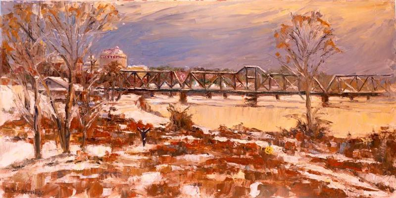 This work by Doug Breckenridge portraying the Ouachita River and KCS Ouachita River Bridge is on display at Sugar Gallery.