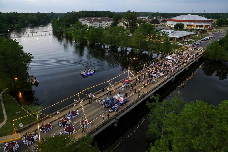 The Wine Over Water Bridge Party is held on the Northeast Drive Bridge.