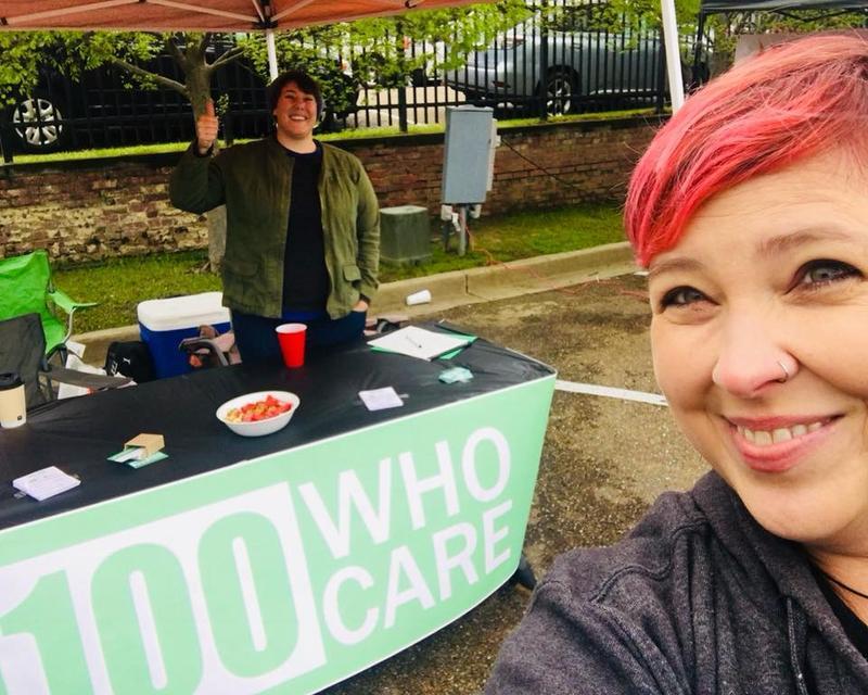 Camille Pearce and Jen Brister of 100 Who Care NELA at the Railroad Festival in Ruston.