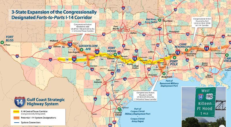 I-14 would run through central Louisiana