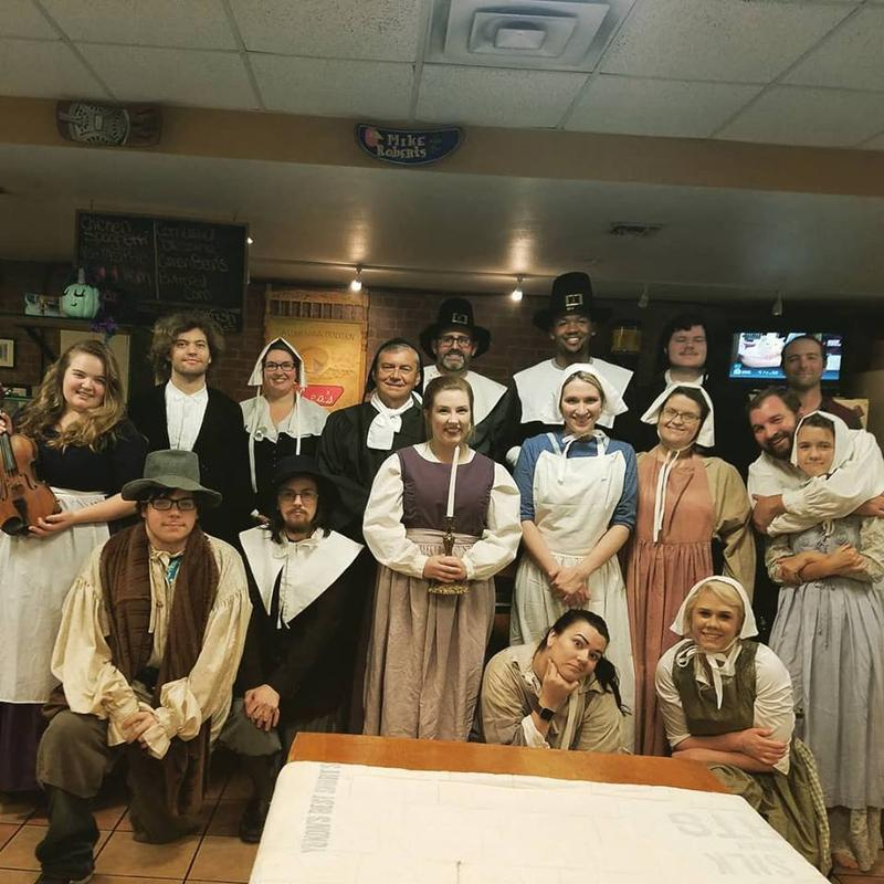 "Cast members of ""The Crucible"" pose at Lea's of LeCompte, where the play is brought to life."