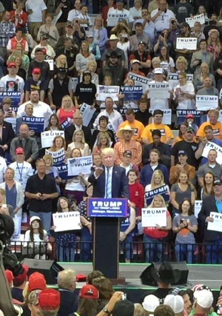 President Donald Trump at a rally in Great Falls, Montana.