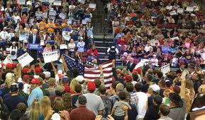 President Donald Trump rallies in Great Falls, Montana.