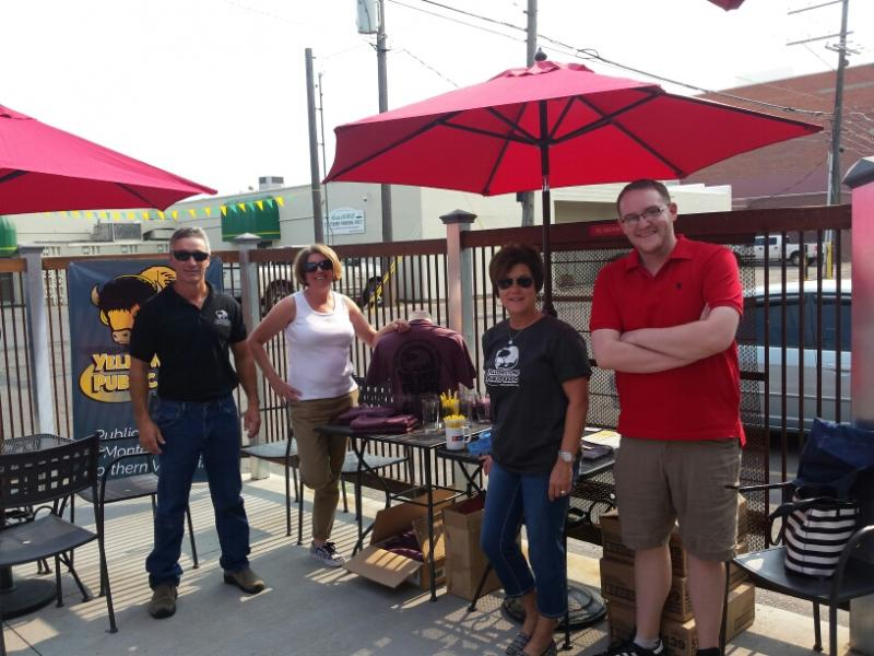 YPR staff Jim Nichols, Jill Hirschi, Kristy Catlin, and Wesley Jessen setting up at Angry Hanks in Billings!