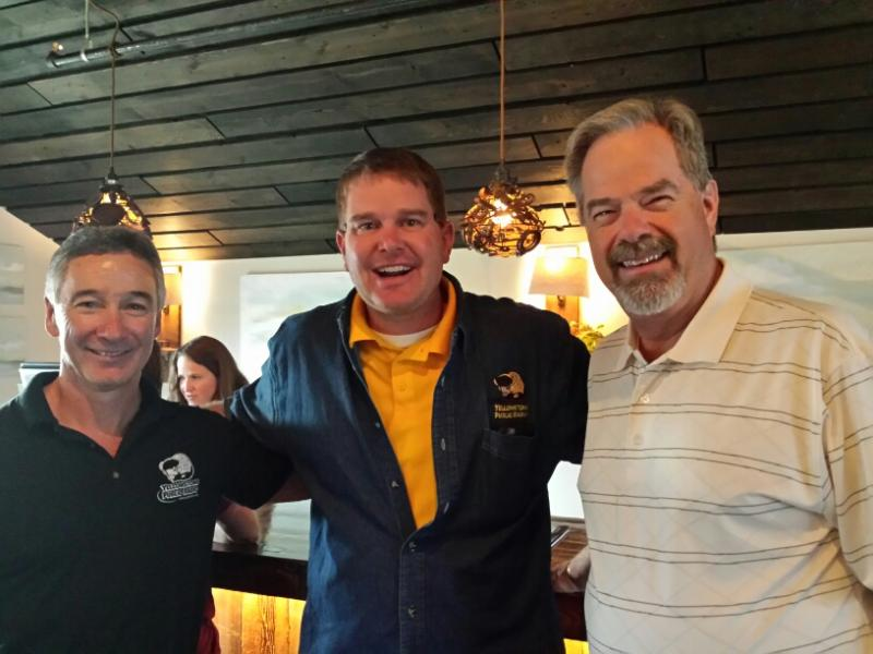 YPR's Jim Nichols and Aaron Clinginsmith with former Chancellor at the MAP Brewery in Bozeman