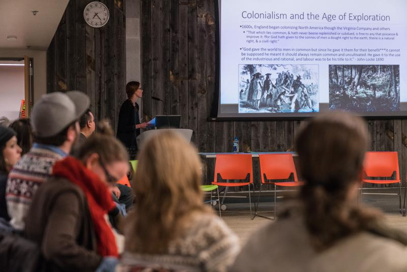 Attorney Aubrey Bertram of Montana Legal Services presented a lecture on Federal Indian Law for the March edition of the Native American Race Relations and Healing Lecture Series.