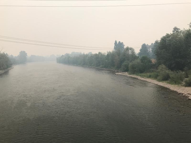 A view of the 'M' is obscured by smoke in Missoula, Montana