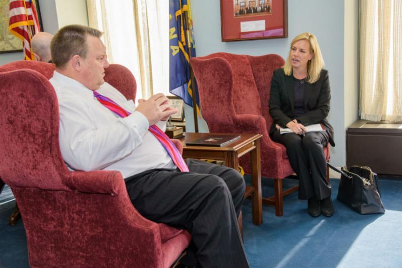 Senator Jon Tester meets with Homeland Security Secretary Kirstjen Nielsen on Tuesday.