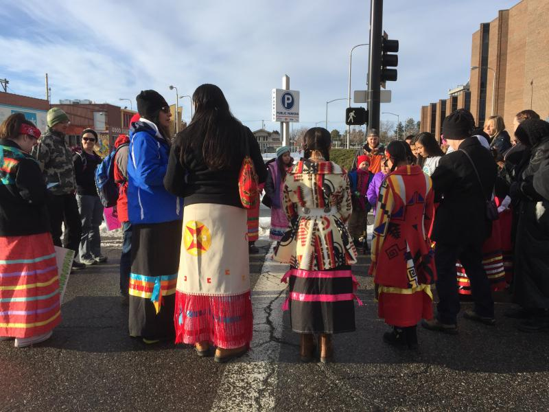 Native American Women donned traditional dress for the 2018 Women's March through downtown Billings, Montana