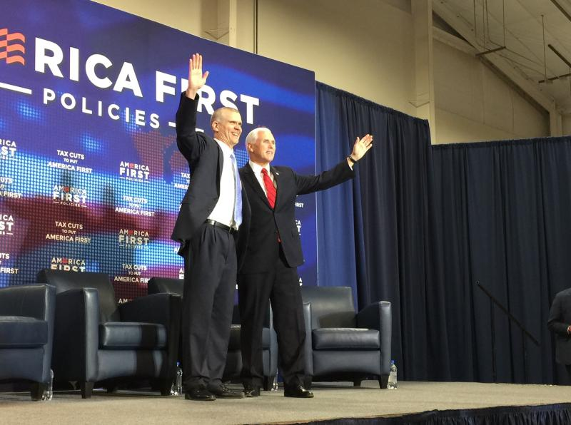 Vice President Mike Pence, right, and Republican U.S. Senate Candidate Matt Rosendale greet the crowd gathered for the America First Policies rally in Billings.
