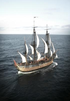 The HMS Endeavour under full sail.