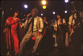 Mick Jagger, Muddy Waters, Junior Wells, Keith Richards and Ron Wood at Chicago's Checkerboard Lounge in 1981.