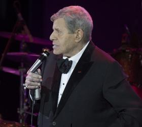 Jerry Lewis tells stories of his eight-decade career through narrative and musical performances at the Orleans Hotel in Las Vegas.