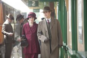 Shown from left to right: Michelle Dockery as Lady Mary and Dan Stevens as Matthew Crawley.