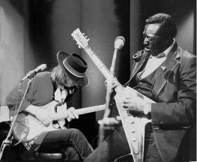 The only known recording of Albert King and Stevie Ray Vaughan performing together, this is the concert that blues fans have been waiting for. Pictured: Albert King and Stevie Ray Vaughan.