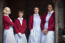 Shown left to right: Helen George as Trixie, Bryony Hannah as Cynthia, Jessica Raine as Jenny and Miranda Hart as Chummy.