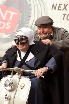 Shown: Pam Ferris as Sister Evangelina and Cliff Parisi as Fred