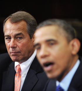 """For nearly two years, Speaker of the House John Boehner, left, and President Barack Obama, right, have been locked in a struggle that threatens to bring the nation to the brink of financial collapse. """"Cliffhanger"""" reveals the inside story of how the nation's most powerful leaders have failed to solve the pressing problems of debt and deficit."""