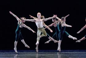 "Paul Taylor Dance Company. Sean Mahoney, Michael Trusnovec, James Samson, Michael Apuzzo, Robert Kleinendorst, Jeffrey Smith (L-R) in ""Brandenburgs."""