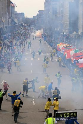 BOSTON - APRIL 15: A second explosion goes off near the finish line of the 117th Boston Marathon on April 15, 2013.
