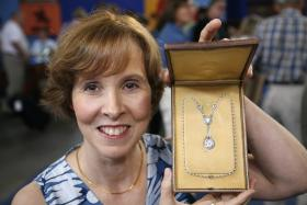 The owner of this 19th-century diamond, pearl and platinum heirloom necklace knew she had something special when she brought it to ANTIQUES ROADSHOW in Chattanooga, Tennessee. However, the rare five-carat diamond centerpiece puts the jewelry in a category all its own, with an estimated value of $250,000.