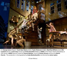 (l-r)Georgi James (Pepper), Tyrah Skye Odoms (Kate), Taylor Richarson (Duffy), Madi Rae DiPietro (July), Lilla Crawford (Annie), Junah Jang (Tessie) and Emily Rosenfeld (Molly) in ANNIE at the Palace Theatre (broadway at 47th Street). ANNIE features a book by Thomad Meehan, music by Charles Strouse and lyrics by Martin Charnin. The production in choreographed by Any Blankenbuehler and directed by James Lapine.