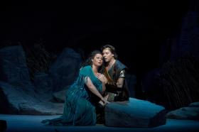 "Liudmyla Monastyrska as the title character and Roberto Alagna as Radamès in Verdi's ""Aida."""