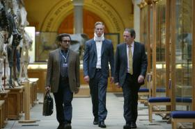Shown from left to right: Sanjeev Bhaskar as Kanan Dutta, Laurence Fox as DS James Hathaway, and Kevin Whately as Inspector Lewis
