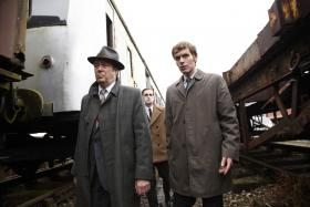 Shown from left to right: Roger Allam as DI Thursday, Jack Laskey as DS Peter Jakes and Shaun Evans as Endeavour