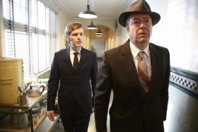 Shown from left to right: Shaun Evans as Endeavour Morse and Roger Allam as DI Thursday