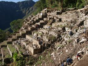 NOVA joins a new generation of archeologists as they probe areas of Machu Picchu that haven't been touched since the time of the Incas. Pictured: Recently re-discovered terraces at Machu Picchu are being restored.