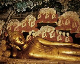 Pictured: Reclining Buddha at Wat Boworn, Thailand