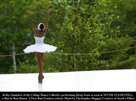 """Kellye Saunders of the Collage Dance Collective performing Dying Swan as seen in """"Dancing at Jacob's Pillow: Never Stand Still."""""""