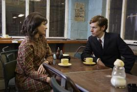 Shown from left to right: Maimie McCoy as Alice and Shaun Evans as Endeavour.
