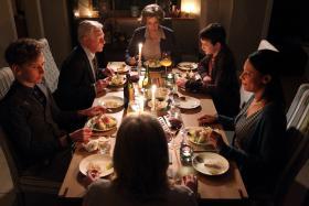 Kate (NINA SOSANYA), Alan (DEREK JACOBI), Celia (ANNE REID), William (ED ASHLEY) and Lawrence (LOUIS GREATOREX) at Caroline's (SARAH LANCASHIRE) birthday dinner