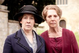 Part 3, Shown left to right: Phyllis Logan as Mrs. Hughes and Penelope Wilton as Isobel Crawley