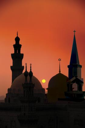 A composite image of a Christian church, Jewish temple and an Islamic mosque.