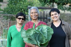 Alice Walker (center) with director Pratibha Parmar (left) and producer Shaheen Haq on location in Northern California.