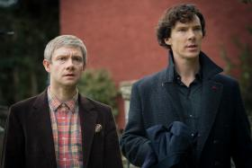Shown from left to right: Martin Freeman as John Watson, Benedict Cumberbatch as Sherlock Holmes