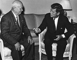Nikita Khrushchev and John F. Kennedy in Vienna.