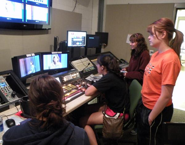 Ft. Sumner students work in th control room at KENW-TV.