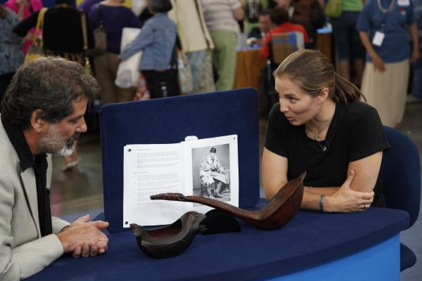 At ANTIQUES ROADSHOW in San Jose, California, this guest (right) brings in an Tlingit Indian oil bowl and ladle, acquired by her great-great grandfather during a military posting to Sitka, Alaska in 1877. Appraiser Ted Trotta stuns her with the news that her heirloom treasure is valued between $250,000 and $300,000.