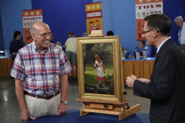 At ANTIQUES ROADSHOW in Miami Beach, Florida, this guest hoped his 1876 John George Brown painting might be worth $3,000. However, appraiser David Weiss astonishes him with an estimated value of $40,000 to $60,000! Brown is widely known for his depictions of street urchins, newspaper sellers and shoeshine boys, making this painting of a beautiful young lady slightly atypical.