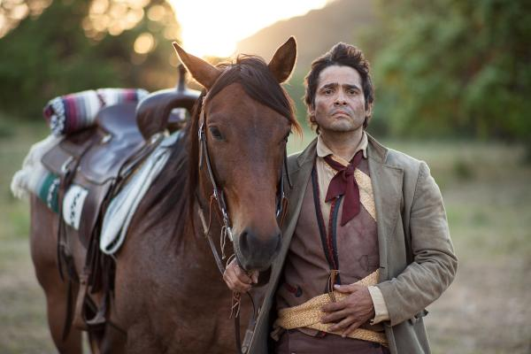 An actor portrays Juan Seguín, a political and military figure of the Texas Revolution and Republic of Texas. Shot on-location for LATINO AMERICANS at Northrup Pipe Creek Ranch in Lakehills, Texas.