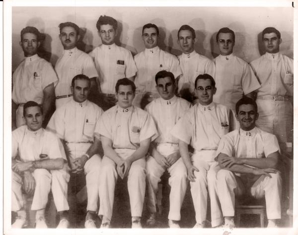 Hector Garcia at medical school (front row, far right) at the University of Texas Medical Branch at Galveston. He received his M.D. in 1940.
