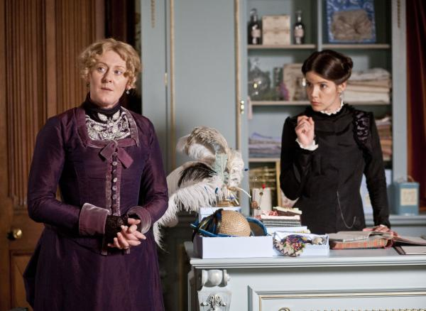 Shown from left to right: Sarah Lancashire as Miss Audrey and Sonya Cassidy as Clara