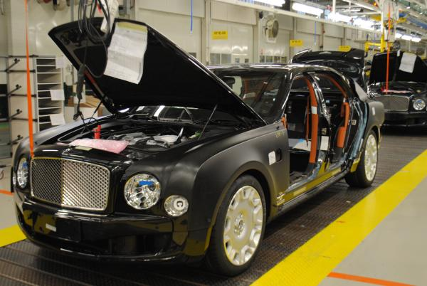 Black Bentley on assembly line